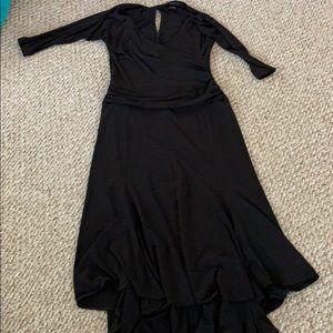 Elegant flattering fit n flair black dress